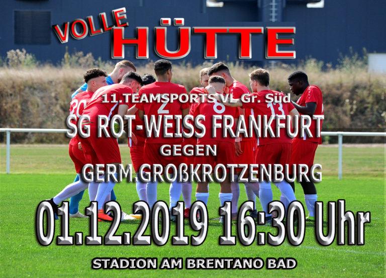 11 Teamsports Verbandsliga:  Rot-Weiss trifft auf Germania Großkrotzenburg